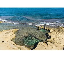 Mediterranean Delight - Maltese Natural Beach Pool with a Sleeping Giant Photographic Print