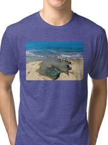 Mediterranean Delight - Maltese Natural Beach Pool with a Sleeping Giant Tri-blend T-Shirt