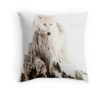 Arctic Wolf Portrait Throw Pillow