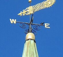 Weathervane and sparrow, Rockport, Massachusetts by Ray Vaughan