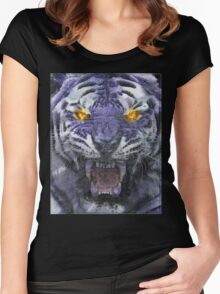 Psychedelic Tiger Poster Women's Fitted Scoop T-Shirt