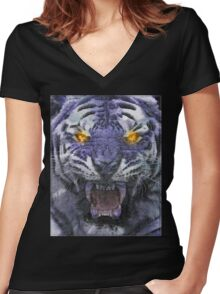 Psychedelic Tiger Poster Women's Fitted V-Neck T-Shirt