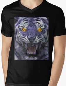 Psychedelic Tiger Poster Mens V-Neck T-Shirt