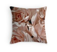 Pink Satin Roses and Pearls Bride Bouquet Throw Pillow
