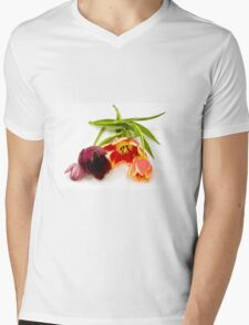 Cutout of tulip flowers on white background Mens V-Neck T-Shirt