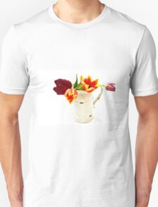 Cutout of tulip flowers in an enamel vase on white background Unisex T-Shirt