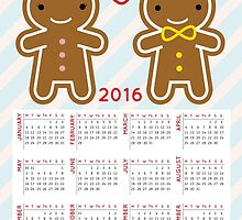 Cookie Cute Gingerbread Couple 2016 Calendar  by Marceline Smith