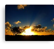 Sunset With SunRays Canvas Print