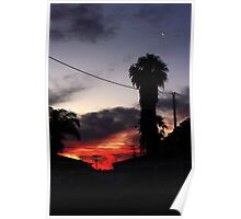 Cressent moon above sunset Poster