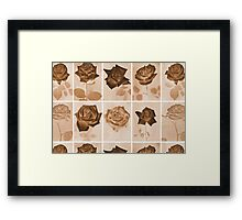 Vintage Sepia Roses Repeating Pattern Framed Print