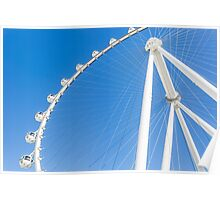 White Ferris Wheel with blue sky background  Poster