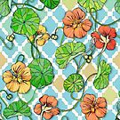 Climbing Nasturtiums on Blue and White by micklyn