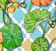 Climbing Nasturtiums on Blue and White Sticker