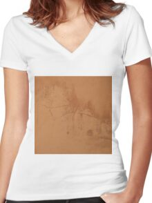 Brown rusty abstract background   Women's Fitted V-Neck T-Shirt
