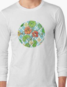 Climbing Nasturtiums on Blue and White Long Sleeve T-Shirt