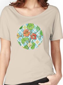 Climbing Nasturtiums on Blue and White Women's Relaxed Fit T-Shirt