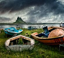 Boats at Lindisfarne by Tarrby