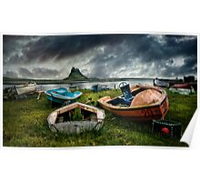 Boats at Lindisfarne Poster