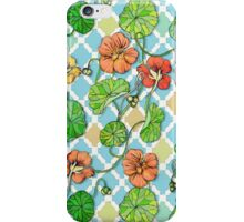 Climbing Nasturtiums on Blue and White iPhone Case/Skin