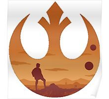 Star Wars - Rebel Alliance Logo II (Luke on Tatooine) Poster