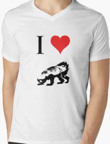 I Love Honey Badger Mens V-Neck T-Shirt