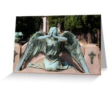 weeping angel at the Monumental Cemetery Genoa, Italy Greeting Card