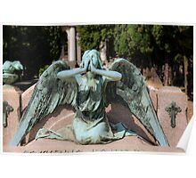 weeping angel at the Monumental Cemetery Genoa, Italy Poster