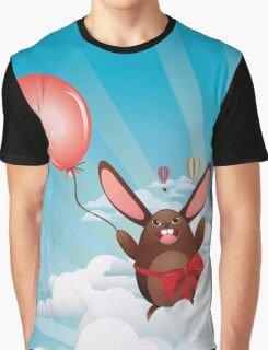 Chocolate Bunny with Balloon Graphic T-Shirt