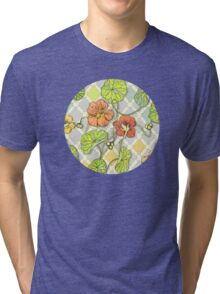 Climbing Nasturtiums in Lemon, Lime and Tangerine Tri-blend T-Shirt