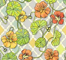 Climbing Nasturtiums in Lemon, Lime and Tangerine by micklyn