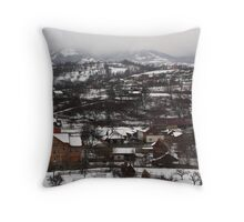 Winter in the Village Throw Pillow