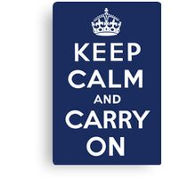 Keep Calm and Carry On (Navy Background) Canvas Print