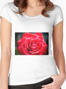 selective focus close up of a red rose flower Women's Fitted Scoop T-Shirt