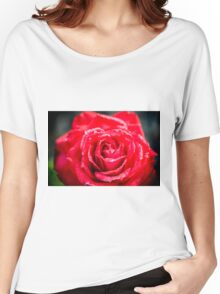 selective focus close up of a red rose flower Women's Relaxed Fit T-Shirt