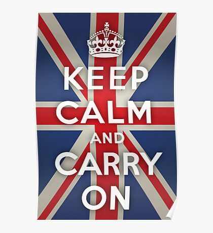 Keep Calm and Carry On (Union Jack Background) Poster