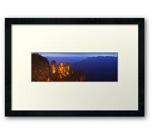 Three Sisters Dusk, Blue Mountains, Australia Framed Print