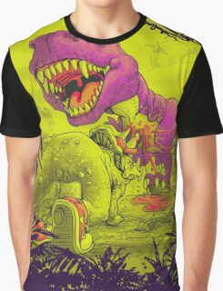 Bloody Extinction of Purple T Rex Dinosaur Graphic T-Shirt