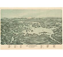 Vintage Pictorial Map of Lake Winnipesaukee (1903)  Photographic Print
