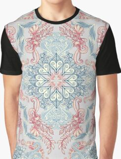 Vintage Fancy - a Pattern in Pale Blue, Navy & Deep Rose Graphic T-Shirt