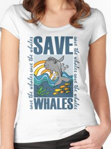 SAVE WHALES Women's Fitted Scoop T-Shirt