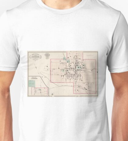Vintage Map of Leesburg Virginia (1878) Unisex T-Shirt