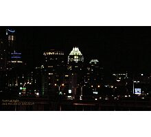 Austin at Night - A View from East of the City  Photographic Print