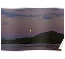 Moon Rising above Gellibrand River Lagoon Poster