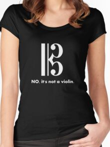 Alto Clef - NO, It's Not a Violin. (White Inverse) Women's Fitted Scoop T-Shirt