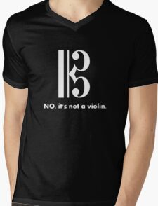 Alto Clef - NO, It's Not a Violin. (White Inverse) Mens V-Neck T-Shirt