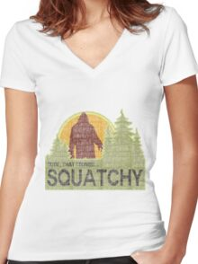 Sounds Squatchy Women's Fitted V-Neck T-Shirt
