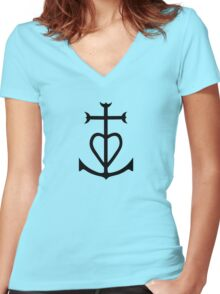 croix camargue anchor Women's Fitted V-Neck T-Shirt