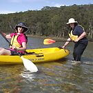 J and K - ready to kayak across the lagoon by gaylene
