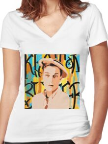 Buster Keaton 2 Women's Fitted V-Neck T-Shirt