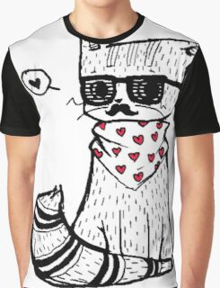 Hipster Cat Graphic T-Shirt